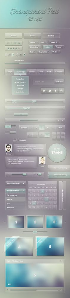 Transparent Ui Kit (Psd)