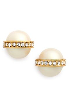 kate spade new york faux pearl & crystal stud earrings available at #Nordstrom