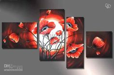 Tetraptych Contemporary Wall Art Floral Painting Poppy Flower On Canvas Panel Wall Art, Wall Art Sets, Large Wall Art, Canvas Wall Art, Oil Painting Gallery, Oil Painting Flowers, Oil Paintings, Modern Canvas Art, Contemporary Wall Art