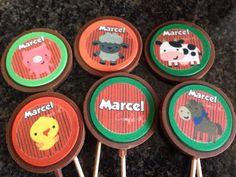 Chupetas de chocolate granja personalizado con el nombre del cumpleañero...