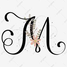 Vintage Lettering, Lettering Design, Hand Lettering, Letter M Logo, Letter Ornaments, Background Decoration, Flower Letters, Boutique Logo, Creative Colour