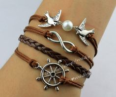 White Pearl - two birds - Infinity - wheel Bracelet - wax rope leather - Barcelets by Vivi Diy via Etsy