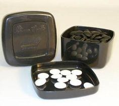 Jang Stone Glass Go Stones in Black Bowls 22802K-8BW