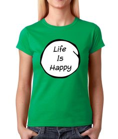 Women's Life is Happy Shirt Printed T-Shirt 1042 from $10.99 at xpressiontees.etsy.com   #ExpressionTees