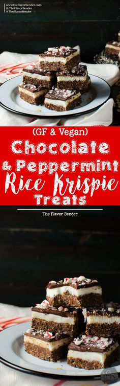 Chocolate Peppermint Rice Krispie Treats - These Rice Krispie Bars have a crunchy, cripsy dark chocolate rice krispie base with a soft refreshing peppermint center and topped with a thin layer of dark chocolate! An addictive Chocolate peppermint treat that's perfect for the holidays and for gift giving! Easy to make and kid-friendly. Gluten free and vegan! #HolidayTreatMaking [ad] @ricekrispiesusa