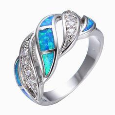 블루 패션 보석 크리스탈 오팔 반지 14KT 화이트 골드 채워진 925 스털링 실버 보석 반지 여성 RP0011