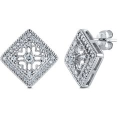BERRICLE 925 Sterling Silver Square Art Deco Stud Earrings In Cubic Zirconia Cz