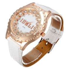 IBELI Ladies Crystal White Leather Strap Wrist Watch