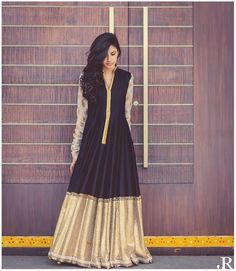 Black Designer Semi Stitched Floor Length Anarkali Suit      #Anarkali, #FloorLength