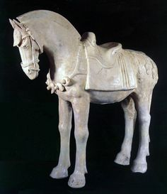 """Sui Glazed Terracotta Sculpture of a Horse - H.530          Origin: China          Circa: 581 AD to 618 AD           Dimensions: 13.5"""" (34.3cm) high           Catalogue: V17          Collection: Chinese          Style: Sui Dynasty          Medium: Glazed Terracotta"""
