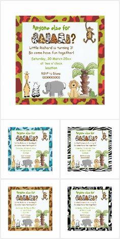 #Jungle animals #safari kids #birthday #invitations