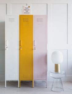 Mustard Made Lockers - The Skinny Tall Locker - White at Rose & Grey. Buy online now from Rose & Grey, eclectic home accessories and stylish furniture for vintage and modern living Ikea Lockers, Office Lockers, Home Lockers, Small Lockers, Metal Lockers, Entry Way Lockers, Locker Accessories, Vintage Home Accessories, Wardrobe Furniture