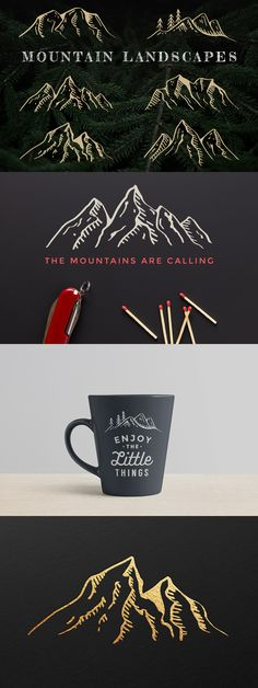 Hand-Drawn Mountain Landscapes by Adrian Pelletier on Creative Market.