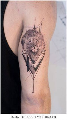 Lion Hand Tattoo Men, Lion Forearm Tattoos, Lion Head Tattoos, Calf Tattoo, Hand Tattoos, Geometric Tattoos Men, Geometric Lion Tattoo, Triangle Tattoos, Leo Tattoo Designs