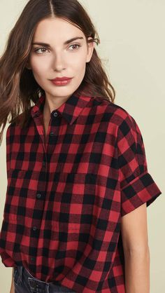 Madewell Flannel Courier Button Down Shirt Only Fashion, China Fashion, World Of Fashion, Women Button Down Shirt, Fashion And Beauty Tips, Tunic Pattern, How To Roll Sleeves, All About Fashion, Flannel Shirt