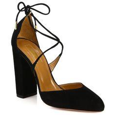 Aquazzura Karlie Suede Lace-Up Pumps ($695) ❤ liked on Polyvore featuring shoes, pumps, apparel & accessories, black, lace up pumps, suede leather shoes, cushioned shoes, laced up shoes en aquazzura