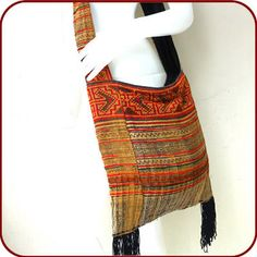 ETHNIC HMONG HEMP EMBROIDERED SHOULDER BAG remade from old tribal hmong skirt #hemp #textile #retro #orientaltribe