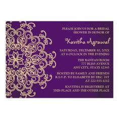 Purple and Gold Indian Inspired Bridal Shower Personalized Invitation - Ask Yassine about this one...I like it but I don't know if it looks Moroccan