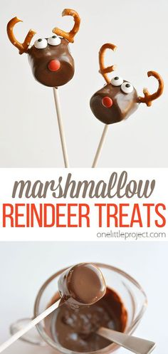 These chocolate covered marshmallow reindeer are so cute and SO EASY! And if you use dark chocolate, they actually taste amazing too! Make them for a Christmas party, or to send to a party at school, or just make them for fun on a Saturday afternoon with the kids. Simple, delicious and adorable! Chocolate Covered Marshmallows, Chocolate Drizzle, Melting Chocolate, Pop Stick, Christmas Foods, Dessert Recipes, Desserts, Caramel Apples, Christmas Crafts