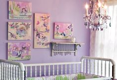 Purple Fairy Room featuring artwork by Winborg Sisters for Oopsy daisy, Fine Art for Kids