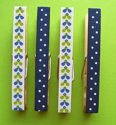 magnetic clothespins that have been covered with various ribbons! SO EASY