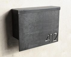 MB1 Modern Mailbox with Address Numbers (on 1/4-inch-thick steel plate) by Austin-based Steel House Manufacturing