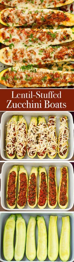 Lentil Stuffed Zucchini Boats - Less than 115 calories per boat and a whopping 8 grams of protein! These are so easy and delicous!