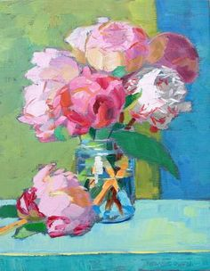 Pink Peonies, Greeting Card Set of 6 — Permanent Magenta Paintings I Love, Small Paintings, Peony Painting, Pink Peonies, Yellow Roses, Pink Roses, Floral Artwork, Rose Art, Abstract Flowers