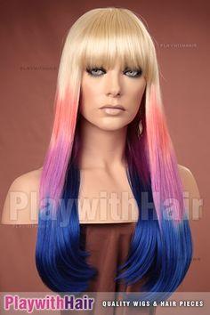 Sleek & Silky Glamour Wig Blonde Blue Pink Layer