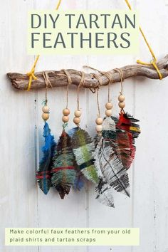 Make this gorgeous wall hanging of colorful faux feathers using tartan and plaid fabric scraps. Full tutorial on the blog. #SatinFabric Denim Crafts, Upcycled Crafts, Tartan Crafts, Repurposed, Fabric Feathers, Colorful Feathers, Colar Diy, Feather Template, Funky Junk Interiors