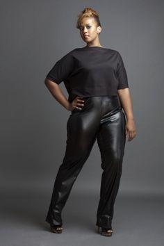 black leather pants plussize