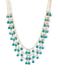 Anne Klein  Shaky Three Row Turquoise Necklace