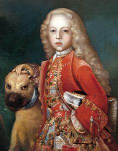 Johan Seirling, 1717. German School. Portrait of Prince Friedrich Hermann Otto von Hohenzollern-Hechingen (1712-1786) with a dog