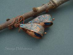 Agate earrings  Wire wrapped earrings  Copper by StasyaWireWrap, $28.00