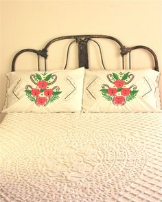pair of vintage mexican embroidered pillow by foundvintageobjects, $26.00
