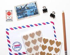 Heart kraft stickers / Estampas kraft de corazón / Etiquetas /  Washi Tape en México, productos de manualidades, DIY y accesorios para fiestas / Party and DIY stuff ventas@washitapemexico.com www.washitapemexico.com