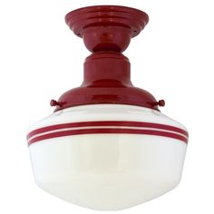 Intermediate Schoolhouse Semi-Flush Mount Light, Small Shade, 400-Red, Double Stripe, 400-Red