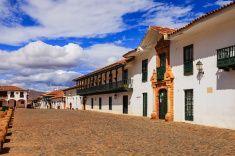 Colombia: 16th Century town of Villa de Leyva; main plaza. stock photo