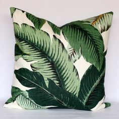 Linen/Rayon - Banana leaves decorative pillow cover - CHOOSE YOUR SIZE