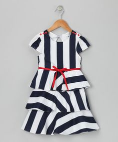 Take a look at this Navy & White Nautical Stripe Ruffle Dress - Girls by Joe-Ella on #zulily today!