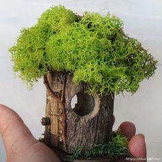 "Fairy House 'Petite' indoor outdoor Fairy by TheElfinPeddler Feenhaus ""Petite Indoor Fairy Gardens, Mini Fairy Garden, Fairy Garden Houses, Gnome Garden, Miniature Fairy Gardens, Indoor Outdoor, Asian Garden, Chinese Garden, Fairy Crafts"