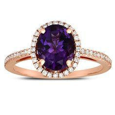 rose+gold+amethyst+engagement+rings | Oval-shaped Amethyst Ring with Diamonds in 14Kt Rose Gold