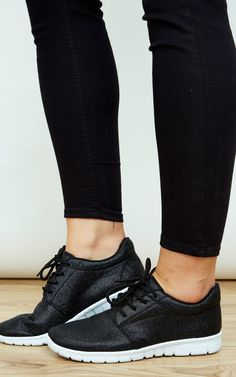 4b750caa3e4 Black Lace Up Glitter Trainers With White Sole By Lilah Rose