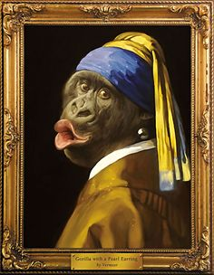 Johannes Vermeer - Girl with the Pearl Earring Spoof - Gorilla with the Pearl Earring