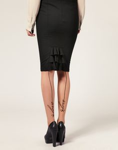 ASOS Love Seam Tights I'd prefer a simple line but the skirt and the shoes are great