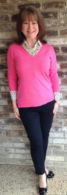 Frugally Yours-- Pink cotton 3/4 sleeve sweater: Costco (yes, Costco) Black and white polka dot shirt: The LOFT Mossimo black ankle pants: Target Kelly and Katie black pumps: DSW Pearl statement necklace: Sample Sale
