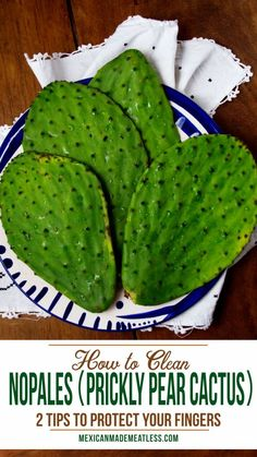 How to Clean Nopales (Prickly Pear Cactus) Prickly Pear Recipes, Prickly Pear Cactus, Mexican Dessert Recipes, Mexican Dishes, Cactus Drink Recipe, Vegetarian Recepies, Meatless Recipes, Vegan Recipes, Cactus Benefits
