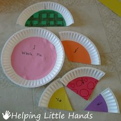 Fractions from paper plates. Glue construction paper or scrapbook paper to plate and cut (partition) into fractions. Easy to identify equal parts of the whole. Teaching Fractions, Math Fractions, Teaching Math, Comparing Fractions, Math Classroom, Kindergarten Math, Classroom Activities, Future Classroom, Preschool