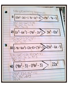 Adding and Subtracting Polynomials: works for student output section of INB Middle School Literacy, Education Middle School, Elementary Schools, Adding And Subtracting Polynomials, College Math, Secondary Math, Teaching Math, Math Teacher, Teaching Ideas
