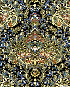 eQuilter Pondicherry - Palace Paisley - Black/Gold lovely design and colors, but don't understand the method: embroidery? Motifs Textiles, Textile Patterns, Textile Prints, Textile Design, Textile Art, Fabric Design, Indian Patterns, Paisley Design, Paisley Pattern